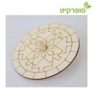 סביבון עץ לצביעה דגם סביבון (10יחידות)